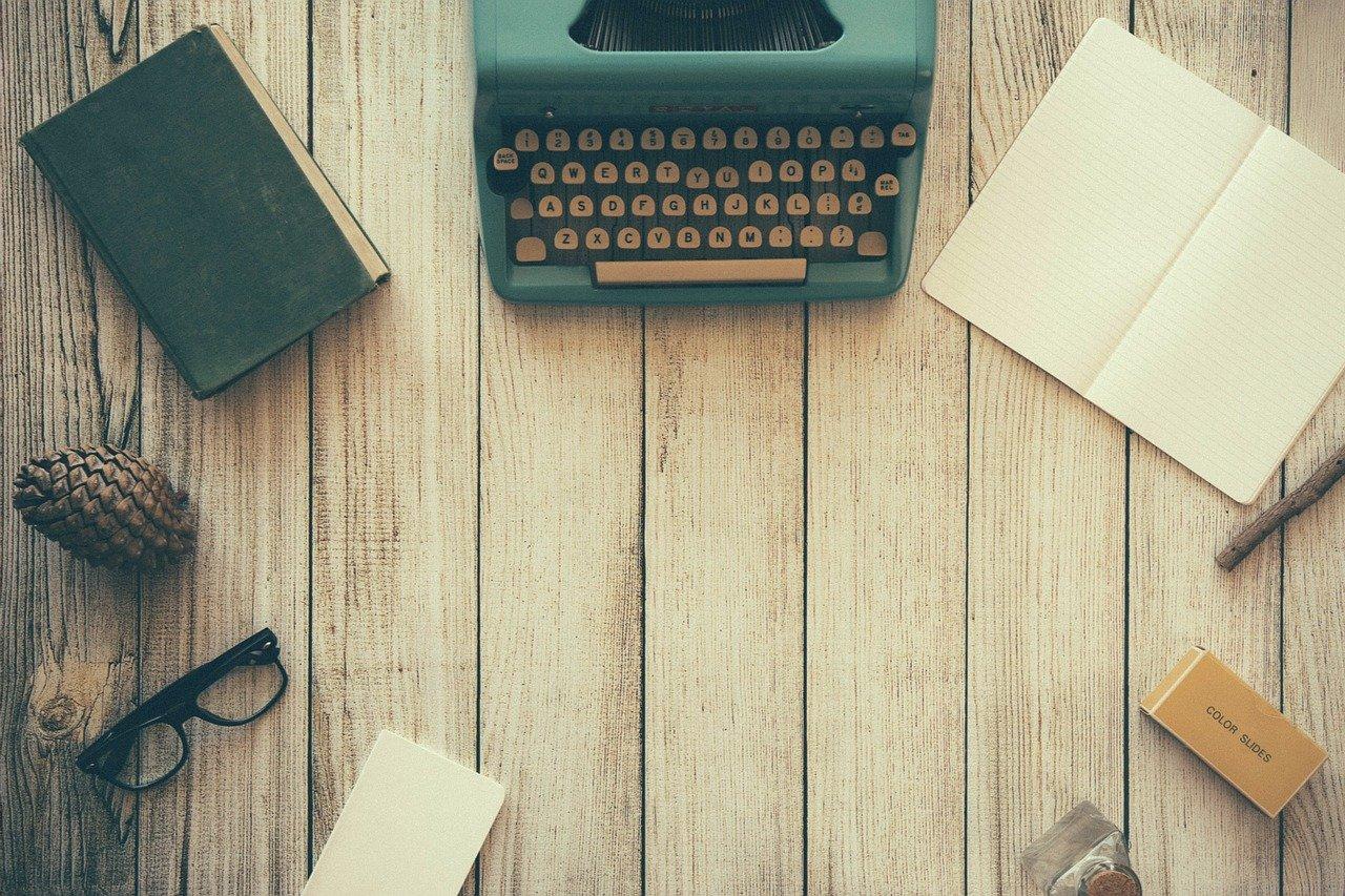 typewriter, book, notes